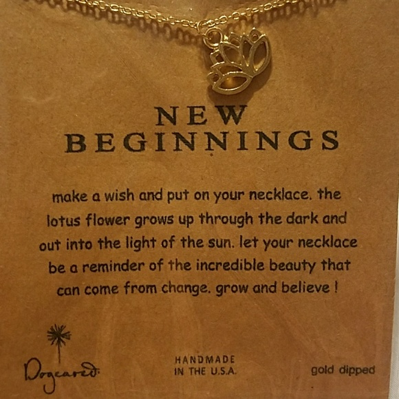 Dogeared Jewelry New Beginnings Golden Lotus Flower Necklace